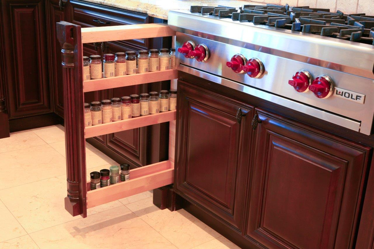 Pull out spice cabinet for custom kitchen cabinets for Cabinet refacing price range