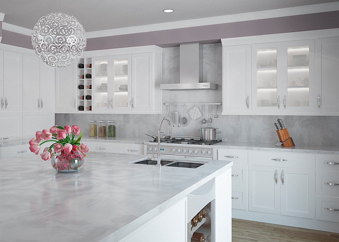White Countertops Whte And Grey Kitchen