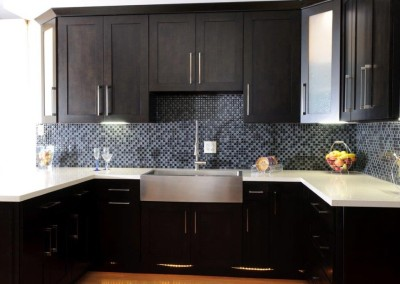 Stock kitchen cabinets in Shaker style with Espresso finish