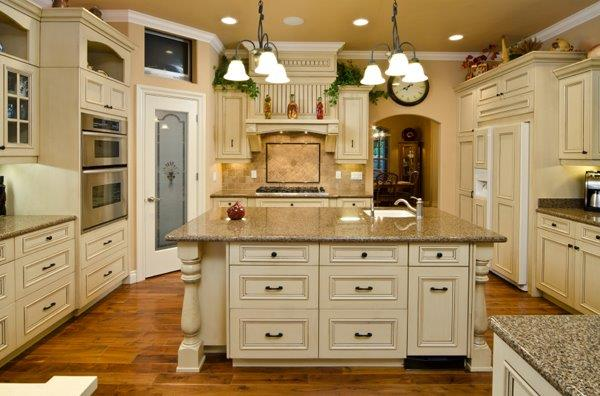 Orange Glazed Kitchen Cabinets