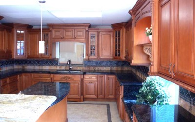 HP Mocha Glaze kitchen cabinets with stainless steel appliances