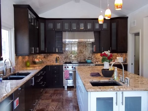 using glass doors to open up your kitchen cabinet remodel