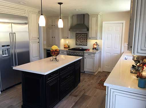 Waypoint kitchen cabinets with island