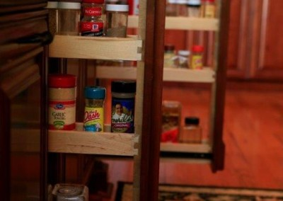 Pull out spice rack in kitchen cabinets