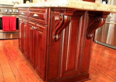 Kitchen cabinets with corbels