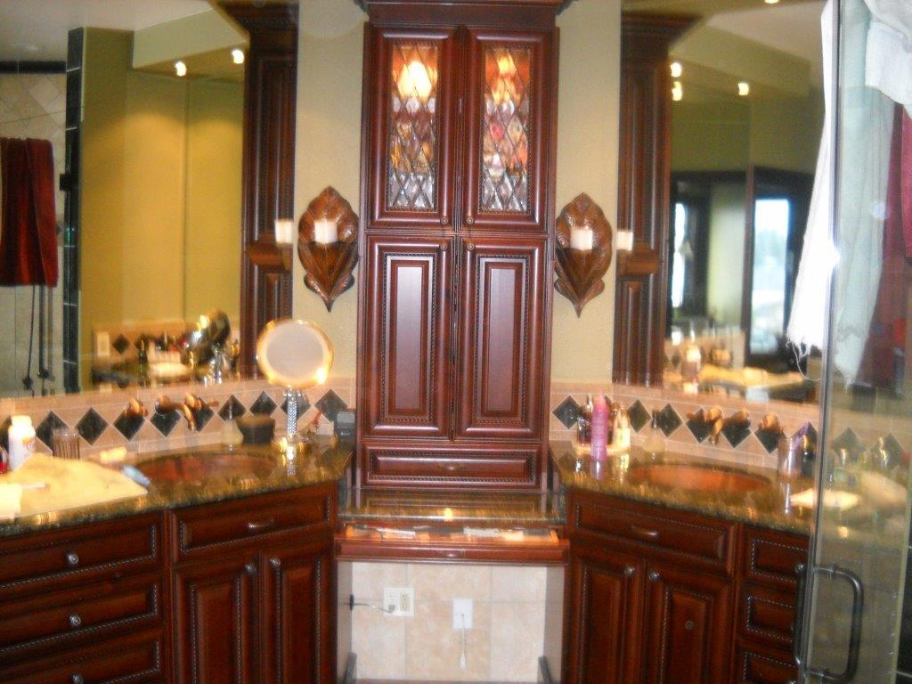 bathroom vanities orange county featuring makeup station