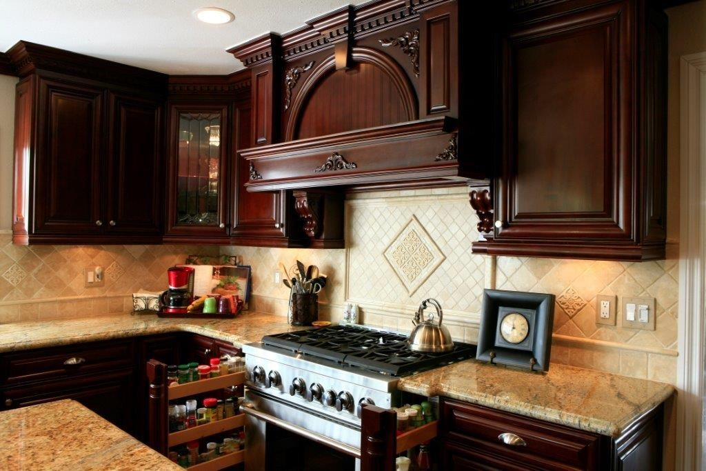 Kitchen cabinets with decorative molding