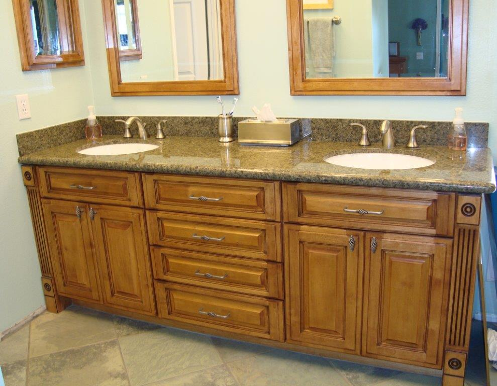 Bathroom Vanity Cabinets With Fluting And Granite Counters · Orange County  Bathroom Remodeling