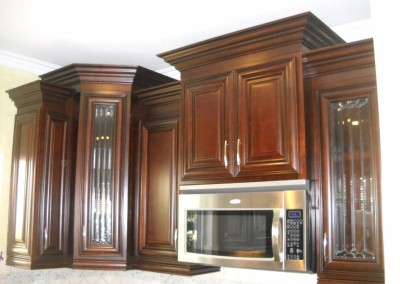 Multi level kitchen cabinets create interest