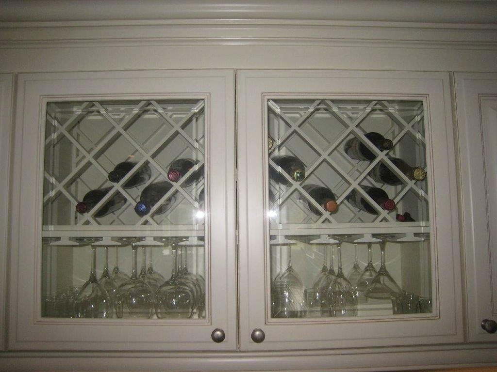 Wine and bar glass storage cabinets in kitchen refacing project