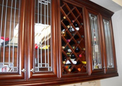 Built in wine storage in custom kitchen cabinets