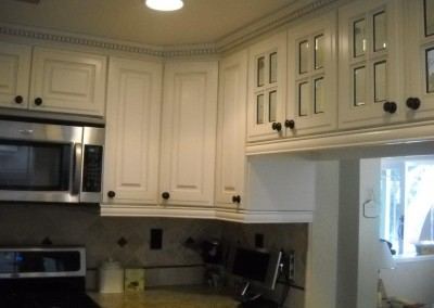White kitchen cabinet with dentil crown molding and 4-lite glass doors.