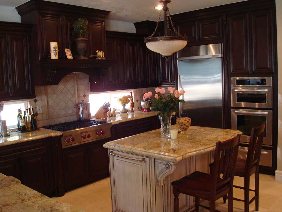 Custom kitchen cabinets with island