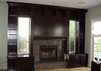Built in bookcases and fireplace surround