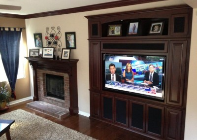 Fireplace mantel with built in wall unit