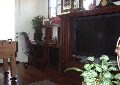 Entertainment center and built in desk cabinets