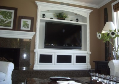 White entertainment center with speaker mesh doors