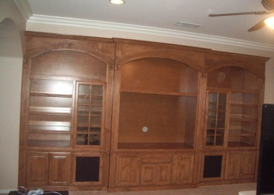 Entertainment center cabinet with arches