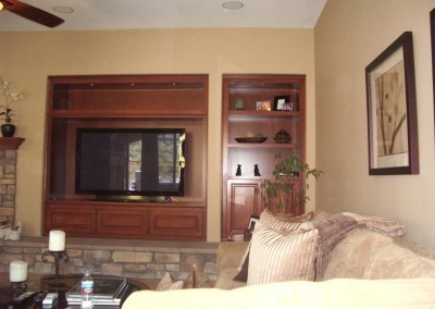 TV stand with bookshelves built into wall niche