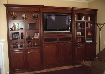 Entertainment center with mounted TV