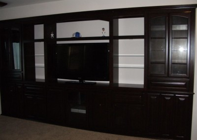 Custom cabinets without backing show wall color