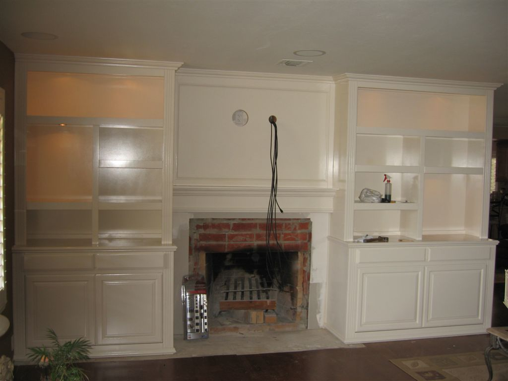 Built in white entertainment center cabinets cabinet for Built in entertainment center using kitchen cabinets