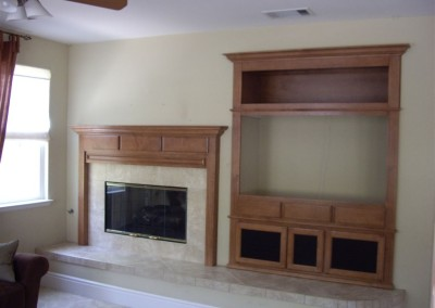 Custom cabinets with fireplace mantel