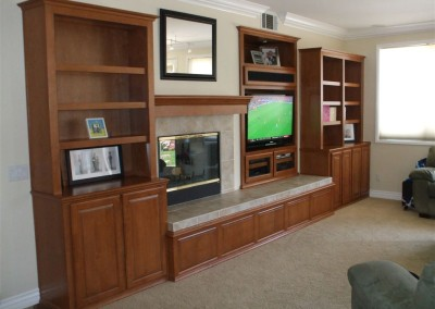 Custom wall unit with bookshelves in Anaheim Hills