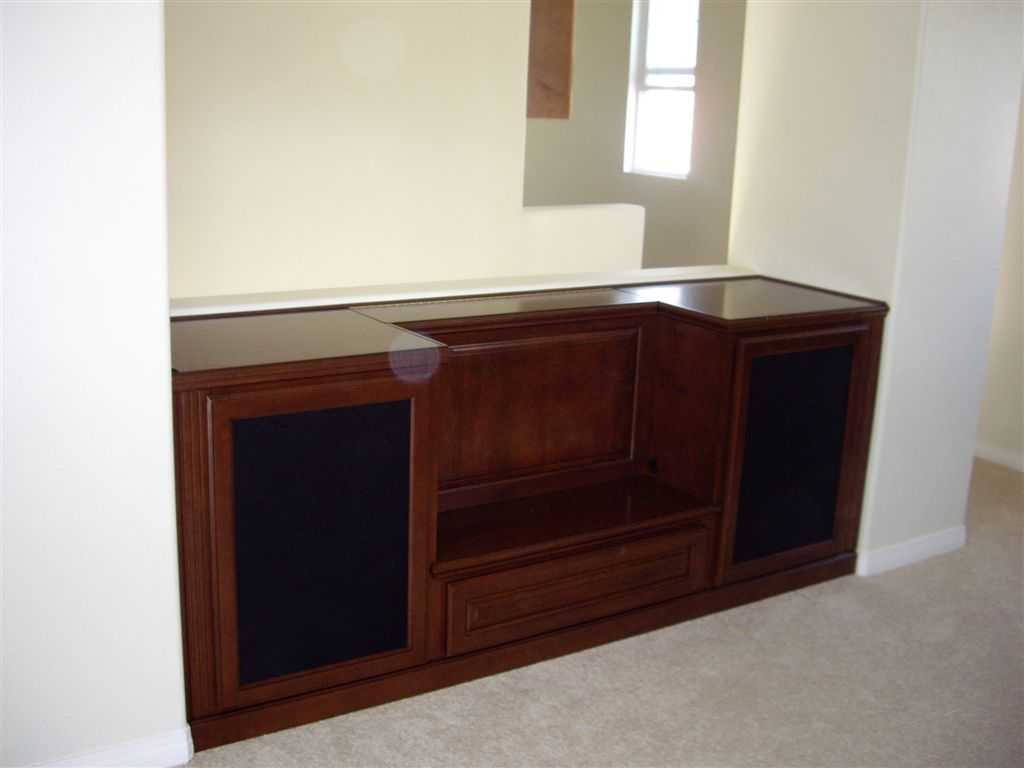 Custom cabinets tv stand with speaker mesh Cabinet Wholesalers