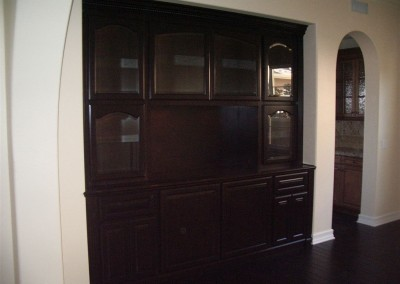 Dark maple cabinets