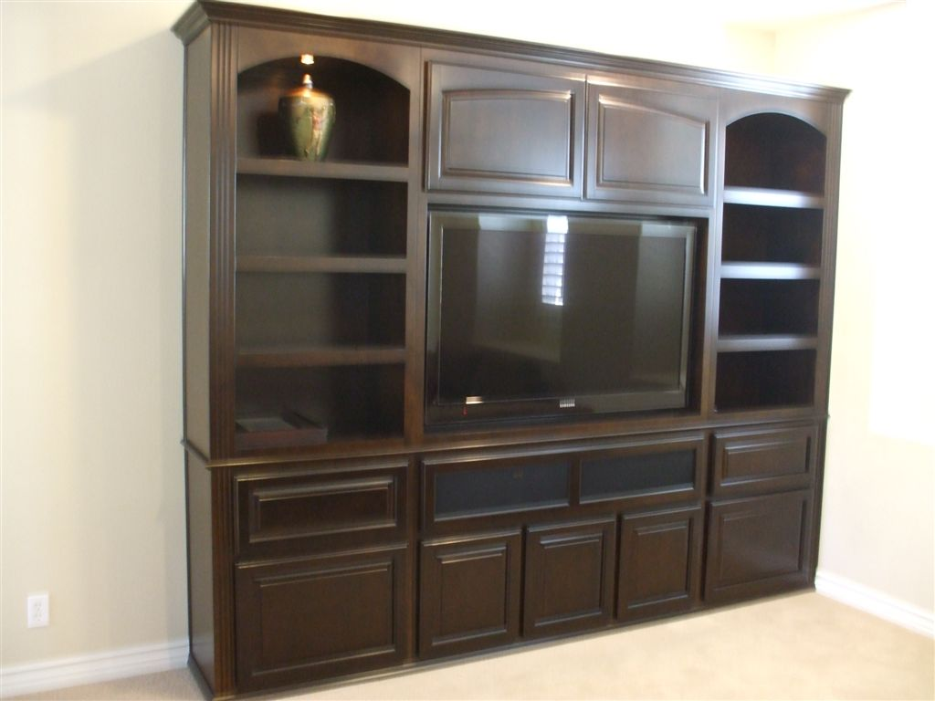 Flat Wall Entertainment Center With Raised Panel Doors