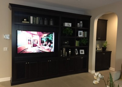 Custom wall unit with bookshelves built in