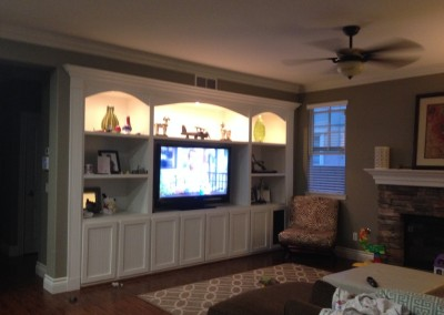 White wall unit with built in lighting