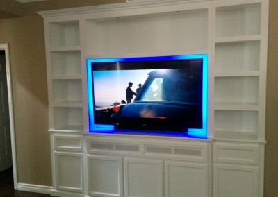 White tv stand with bookshelves