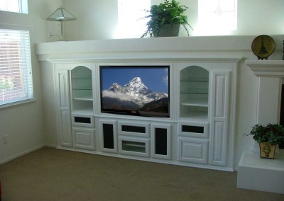 Built in white tv stand