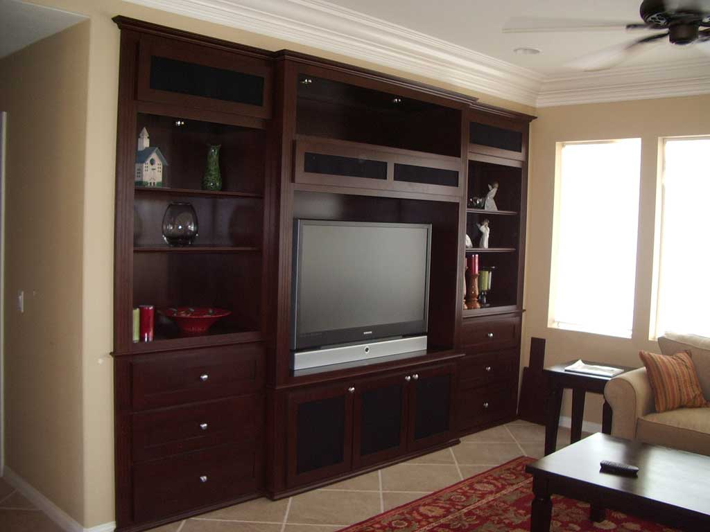 medium maple wall unit with built in shelving