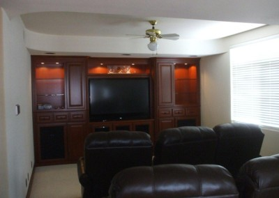 Wall to wall, floor to ceiling living room cabinets