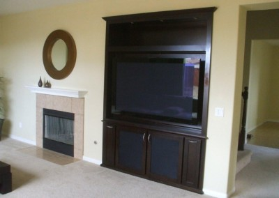 Dark wood built in entertainment center