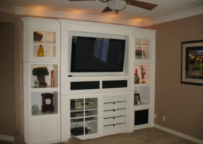 Built in white entertainment center in Yorba Linda