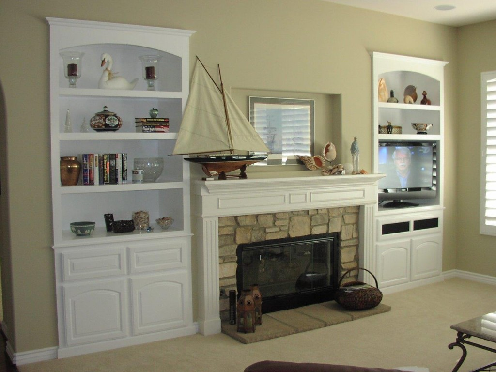 Attirant ... White Entertainment Center With Bookcases ...