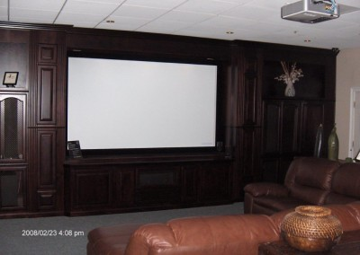 Home theater with projection screen and built in cabinets
