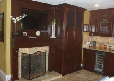 Built in tv stand and fireplace mantel
