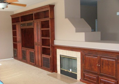 Built in tv stand and fireplace mantel in Ladera Ranch