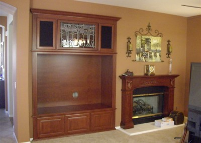 Custom built in wall unit with fireplace mantel