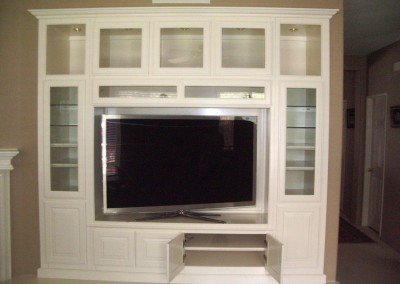 Mission Viejo home with built in white entertainment center