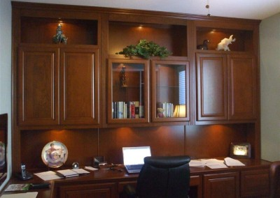 Home office with built in lighting