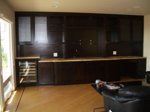 Built In Display Cabinets With Mini Desk And Wine Storage
