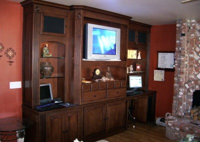 Home library cabinets with TV shelf