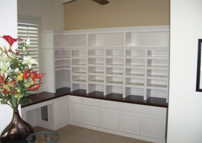 White home library cabinets with filing shelves