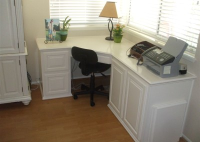 White home office corner desk